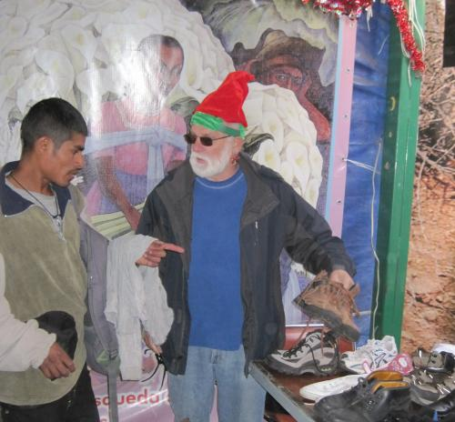 A migrant, Santa's elf, and the shoes