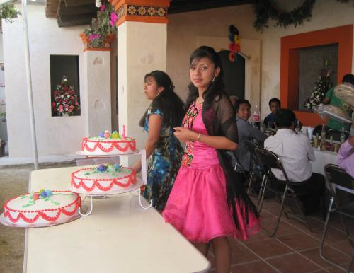 Quinceanero celebration (15th birthday) in small village of Mexico