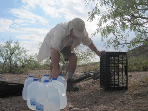 Samaritans leave water in the desert