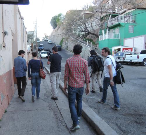 Walking the streets of Nogales with the Canadian crew and Marla, Kino Border Initiative staff