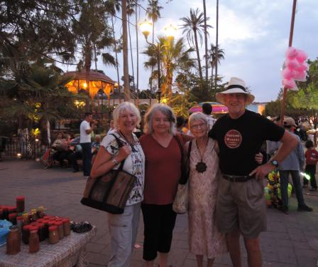 Peg, Trudy, Jaime and Barb in the plaza