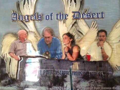 Chuck and Molly (center) as desert angels at a fundraiser for Pastor Galvan