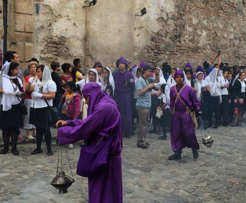 The streets are filled with copal, the incense of Holy Week