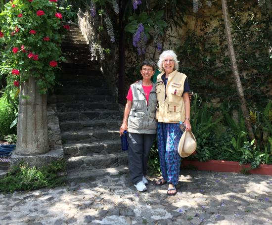 Judy and Peg in the garden, Antigua, Guatemala